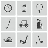 image of golf bag  - Vector black golf icons set on white background - JPG