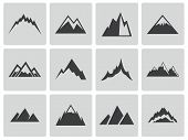 Vector black mountains icons set
