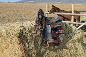 stock photo of western saddle  - An old saddle and tack on a hay bale with a horse in a corral in the background on a western High Desert ranch in the Rocky Mountains - JPG