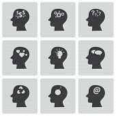 Vektor schwarze Gedanken Icons set