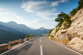 Mountain Highway With Dividing Line In Montenegro