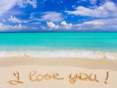 Words I Love You On Beach