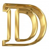 Hollow noble letter D with golden glossy outline