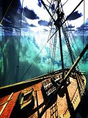 foto of brigantine  - Pirate brigantine out on sea - JPG