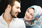 stock photo of hijabs  - Arabic couple together - JPG