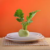 image of turnip greens  - kohlrabi on plate - JPG