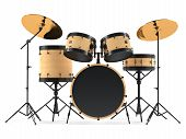 picture of drum-set  - wooden drums isolated - JPG