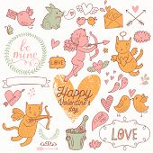 Valentines Day stylish vector set in romantic colors. Cute Cupids, cat, rabbit, birds, champagne, envelopes, hearts and other design elements