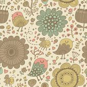 Gentle seamless pattern made of summer flowers, birds and bees in vector. Seamless pattern can be us
