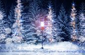 stock photo of lamp post  - Mysterious Christmas Alley with Bright Vintage Style Lamp Post and Fir Trees Under Snow - JPG