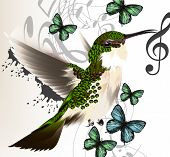 Music Vector Background With Humming Bird, Butterflies And Notes