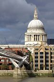 London Millennium Footbridge And  St. Paul's Cathedral