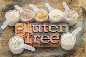 picture of buckwheat  - measuring scoops of gluten free flours  - JPG