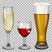 picture of tumbler  - Three transparent glass goblets with wine champagne and beer - JPG