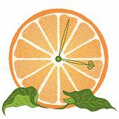 Slice Of Orange As Clock