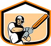 stock photo of cricket bat  - Illustration of a cricket player batsman with bat batting set inside a crest shield done in cartoon style on isolated background - JPG