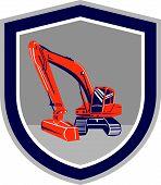Mechanical Digger Excavator Retro Shield