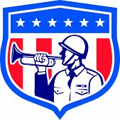 Soldier Blowing Bugle Crest Stars Retro