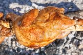 Chicken Roasted On A Spit