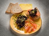 stock photo of sauteed  - Sandwich with smoked salmon and sauteed radish - JPG