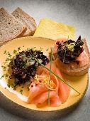 Sandwich with smoked salmon and sauteed radish