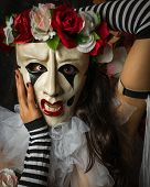 stock photo of clown rose  - A Pierrot style character from Commedia dell - JPG