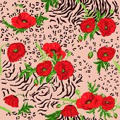 Floral Seamless Pattern - Poppy and Animal Skin Theme - in vector