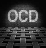 stock photo of psychological  - OCD concept and obsessive compulsive disorder medical symbol as a group of roads organized in a pattern hitting a brick wall with the text in light as an icon of anxiety symptoms and repetitive psychological behavior issues - JPG