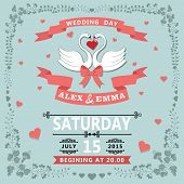 Wedding Invitation With Cartoon Swans