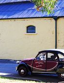 Barossa Valley, South Australia – May 29, 2014: Mini Vintage Promotional Car Outside Side Buildings