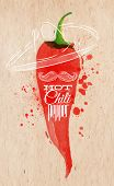 stock photo of chili peppers  - Poster with red watercolor chili pepper lettering hot chili pepper - JPG