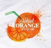 image of orange  - Poster with orange watercolor orange lettering natural orange juice - JPG