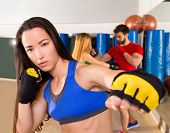 Boxing aerobox brunette woman portrait in fitness gym training workout