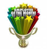 stock photo of employee month  - Employee of the Month Gold Trophy Award Top Performing Worker Recognition - JPG