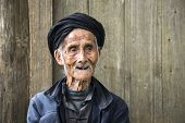 image of centenarian  - An elderly member of the Yao minority people in Tiantou Village - JPG