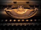 stock photo of qwerty  - Close up of a dirty vintage typewriter warm filter - JPG
