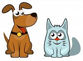 cartoon isolated dog and cat