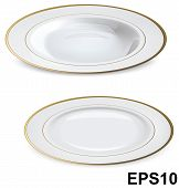 Empty White Plates With Gold Rims Isolated On White. Vector Illustration