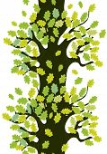 Tree seamless border with oak leaves cute