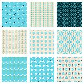picture of aquamarine  - blue fashionable birds and flowers vector seamless patterns set - JPG