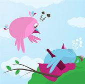 Fun Cartoon Of A Bird Returning To A Drunk Mate