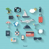 Travel and tourism modern concept in flat design with long shadows and trendy colors for web, mobile