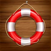 Red lifebuoy isolated on wooden background. High detailed vector.