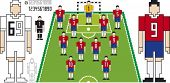 Vector Illustration of Soccer Tactical Kit of Chilean Team
