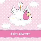 stock photo of stork  - Baby girl arrival announcement card - JPG