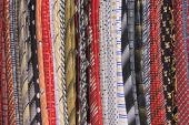 Multicolor ties on a rack