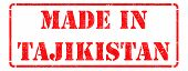 Made in Tajikistan - inscription on Red Rubber Stamp.