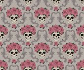 stock photo of scrollwork  - Skulls and roses damask pattern - JPG