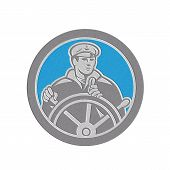 Metallic Fisherman Sea Captain Circle Retro