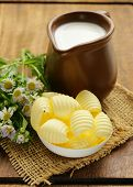 pic of margarine  - fresh yellow dairy butter in a white bowl - JPG